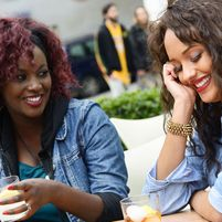 two young woman socialising